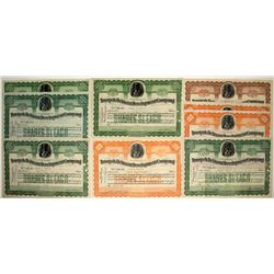 Nine Tonopah Belmont Development Company Stock Certificates
