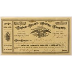 Dayton Gravel Mining Co. Stock Certificate (Virginia City, Nevada)
