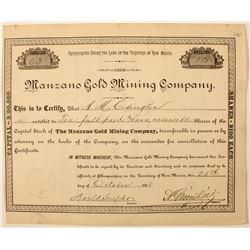 Manzano Gold Mining Company Stock Certificate