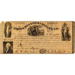 Ohio & Missouri Mining Company Stock Certificate