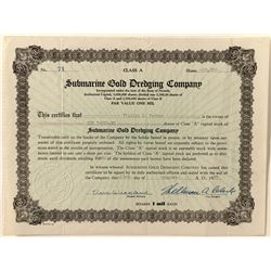 Submarine Gold Dredging Co. Stock Certificate