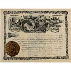 Palmer Mountain Tunnel & Power Co. Stock Certificate