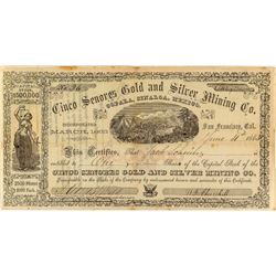 Cinco Senores Gold & Silver Mining Co. Stock Certificate