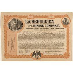 La Republica Mining Company Stock Certificate 1908
