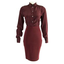 Violet (Michelle Monaghan) Hero DARPA Burgundy Blouse & Skirt from Pixels