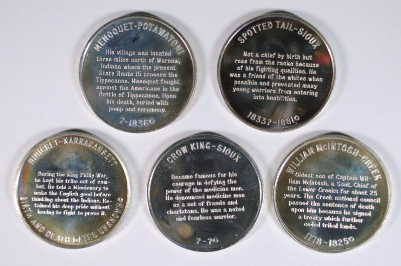 5- ONE OZ STERLING SILVER ROUNDS DEPICTING FAMOUS NATIVE AMERICAN INDIANS