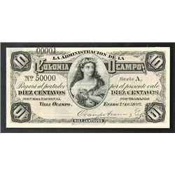 La Administracion De La Colonia Ocampo, 1888 Specimen Banknote.