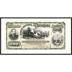 Banco Nacional Del Paraguay, 1886 Issue Proof.