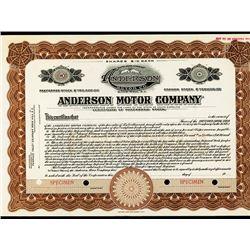 Anderson Motor Co. ca.1910-20 Specimen Stock Certificate - Automobile.