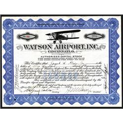 Watson Airport, Inc. 1934 Issued Stock Certificate