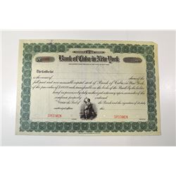 Bank of Cuba in New York, ca.1900-1910 Specimen Stock Certificate.