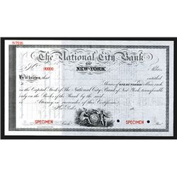National City Bank of New York, ca. 1900 Specimen Stock Certificate.
