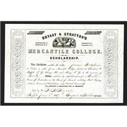 Bryant & Stratton's Mercantile College Scholarship. 1857.