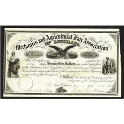 Mechanics and Agricultural Fair Association of Louisiana, 1861 Issued Stock Certificate.