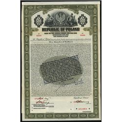 Republic of Poland - Stabilization Loan, Specimen 1927 Gold Bond With Legend.