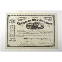 Coshocton, Iron & Steel Co., 1872, Stock Certificate.