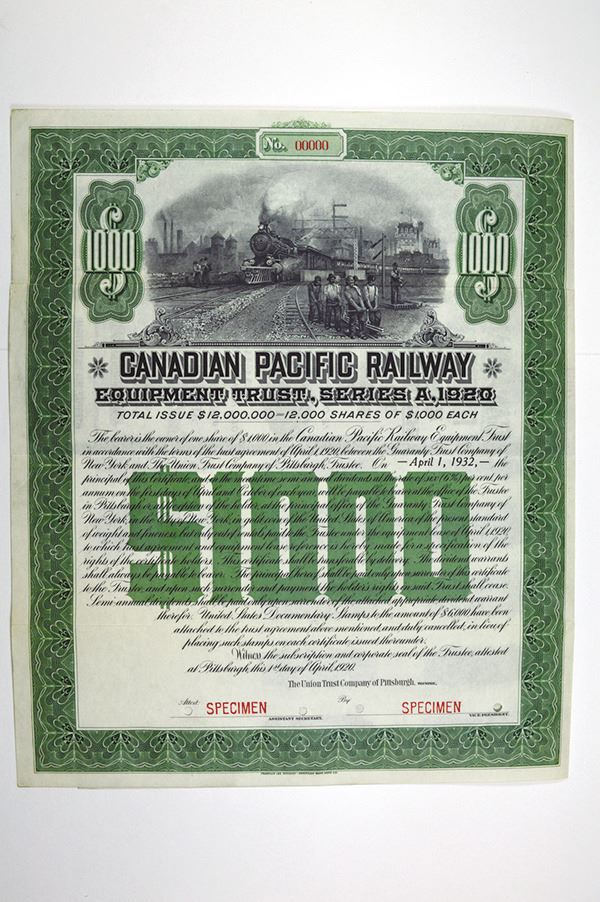 Canadian Pacific Railway Equipment Trust, Series A, 1920