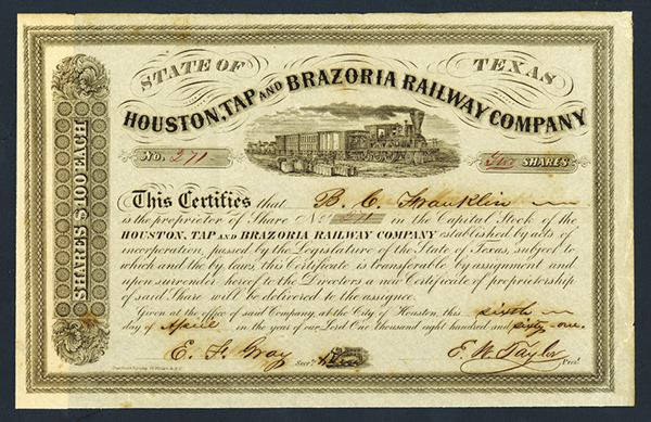 Houston, Tap & Brazoria Railway Co , 1861