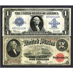 Silver Certificate and United States Note Pair.