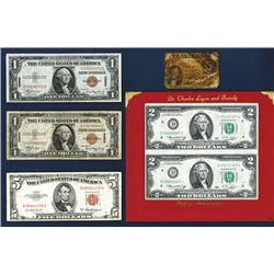 Federal Reserve Note, $1, 2, US Note $5.