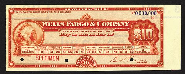 Wells Fargo & Co , ND ca 1900 Specimen Traveler's Check