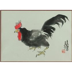Wc Chicken Painting Framed Xu Beihong 1895-1953