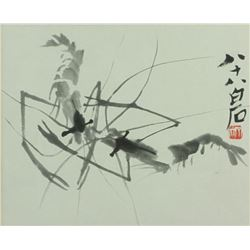 WC Shrimp Painting Framed Qi Baishi 1864-1957