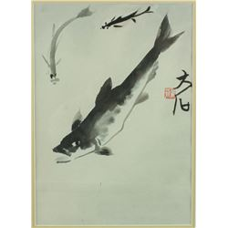 WC Fish Painting Framed Qi Baishi 1864-1957