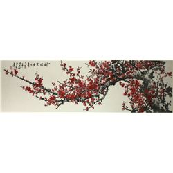 WC Prune Painting Paper w/Frame Zhou Shisong 1951-