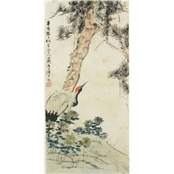 WC Crane Under Pine Tree w/Frame Lu Pingshu1917-99