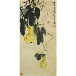 Chinese WC StillLife Painting Paper w/Frame Signed