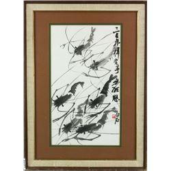 WC Painting Paper w/FrameSigned Qi Baishi1864-1957