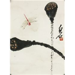 WC Lotus & Insects on Paper Qi Baishi 1864-1957
