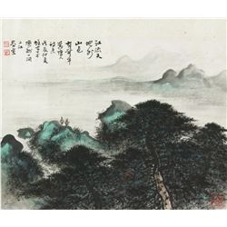 WC Landscape on Paper Li Xiongcai 1910-2001