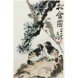 WC Flowers&Birds Scroll Li Kuchan 1899-1983