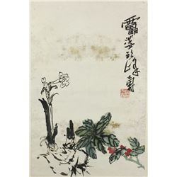 WC Flowers Scroll Pan Tianshou 1897-1971