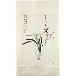 WC Flowers Scroll He Haixia 1908-1998
