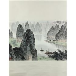 WC Li River Scroll Song Wenzhi 1919-1999
