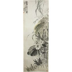 WC White Lotus Scroll Wu Changshuo 1844-1927