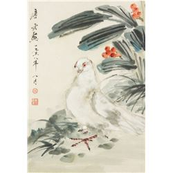WC Bird Painting Paper Scroll Signed Tang Yun