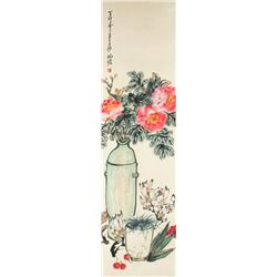 WC Flowers Painting Paper Zhu Qizhan 1892-1996