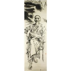 WC Figure Painting on Paper Roll Signed Zhao