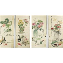 4 Pc WC Flowers Scroll Wang Xuetao 1903-1982