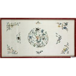 Chinese Lotus Embroidery on Silk w/ Frame