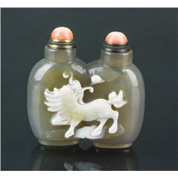 Chinese Double Smoky Agate Dragon Snuff Bottle