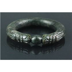 Chinese Green Hardstone Dragon Bangle