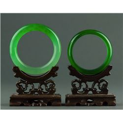 Charming Pair of Emerald Green Hardstone Bangles