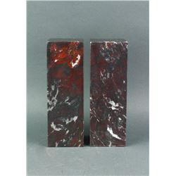 Pair Chinese Hardstone Like Chicken Blood Square