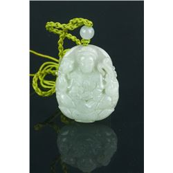 Fine Chinese White Jade Pendant Carved Kwanyin