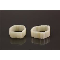Chinese Pair of White Jade Carved Bracelets